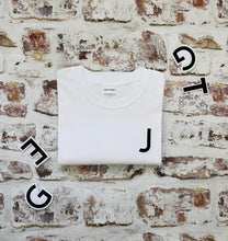 Load image into Gallery viewer, Varsity style Initial T-shirt with Black Initial