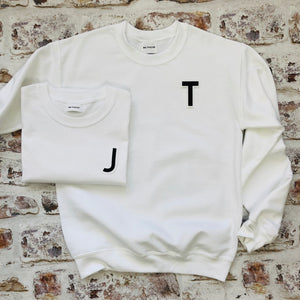 Varsity style Initial T-shirt with Black Initial