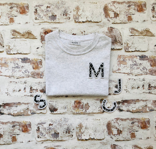 Varsity style Initial T-shirt with Animal print Initial