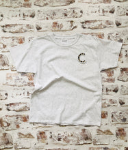 Load image into Gallery viewer, Varsity style Initial T-shirt with Animal print Initial