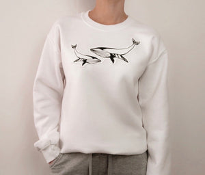 Origami Blue whale textured sweatshirt