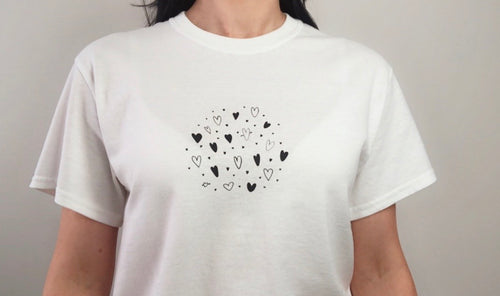 Heart Cluster T-shirt - Hand drawn Love heart tee