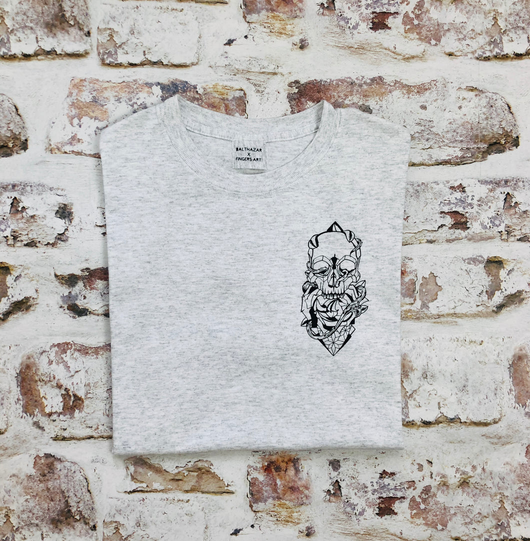 Mini tattoo style skull and rose T-shirt