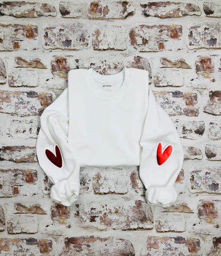 Love heart elbow placement sweatshirt