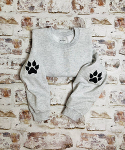 Leopard paw print elbow placement sweatshirt