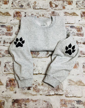 Load image into Gallery viewer, Leopard paw print elbow placement sweatshirt