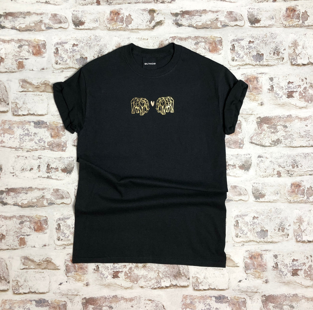 Gold Origami Elephant love t-shirt