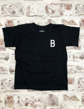 Load image into Gallery viewer, Children's Varsity style Initial t-shirt in Navy- Black - Unisex