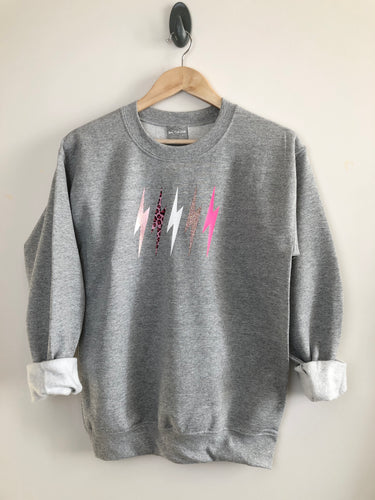 Metallic LOVE mix lightning bolt sweatshirt- Special Edition
