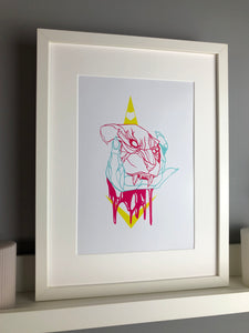 Neon jaguar and claw art print - Fingers Art