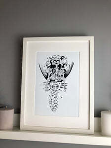 Skeleton Mermaid Art print - Fingers Art