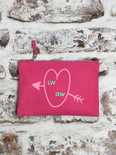Load image into Gallery viewer, Personalised love heart and initials cosmetic pouch