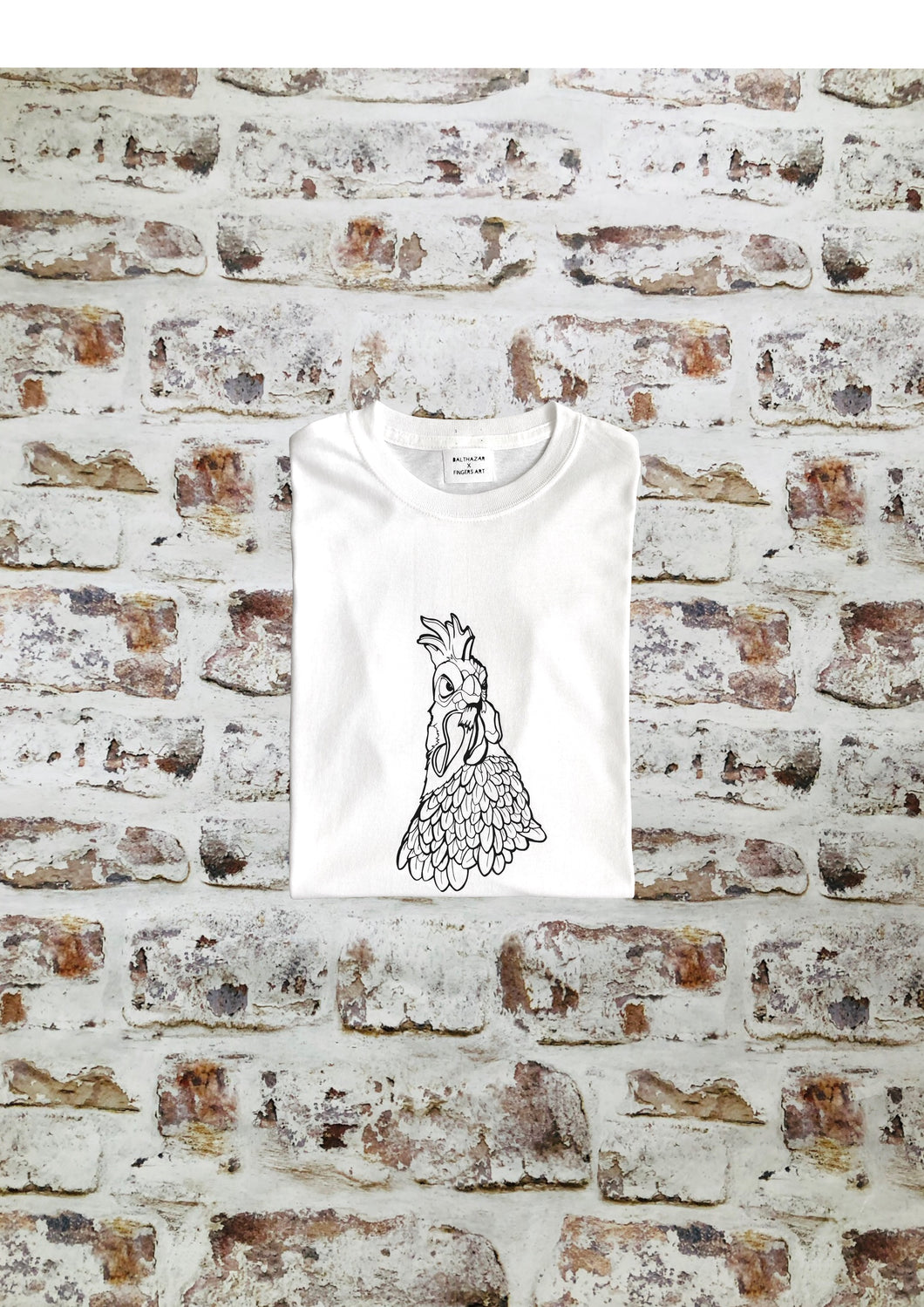 Large Chicken t- shirt by Fingers Art