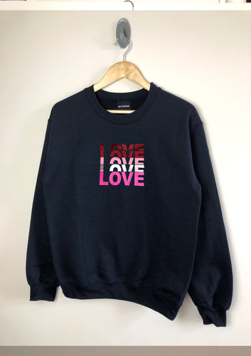 LOVE text sweatshirt - matt/ metallic mix