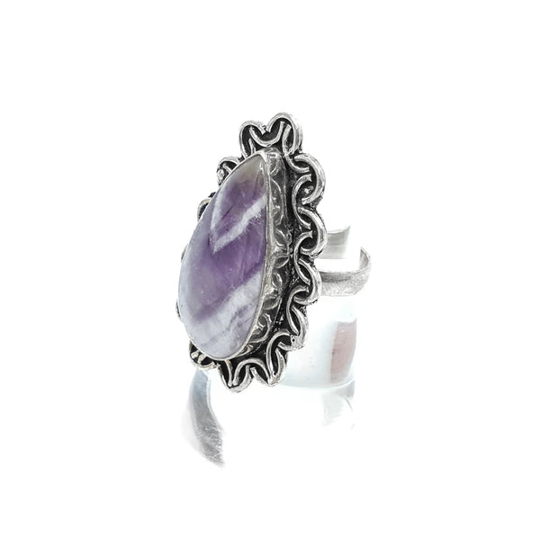 Chevron Amethyst Sterling Silver ring size 6.5