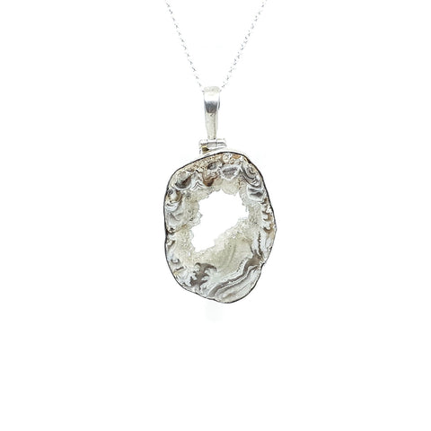 Druzy Agate Geode Slice Sterling Silver pendant #2