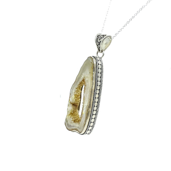 Druzy Agate Geode Slice Sterling Silver pendant #1