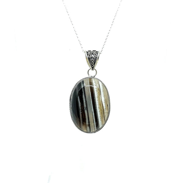 Oval Grey and Beige Botswana Agate Sterling Silver pendant