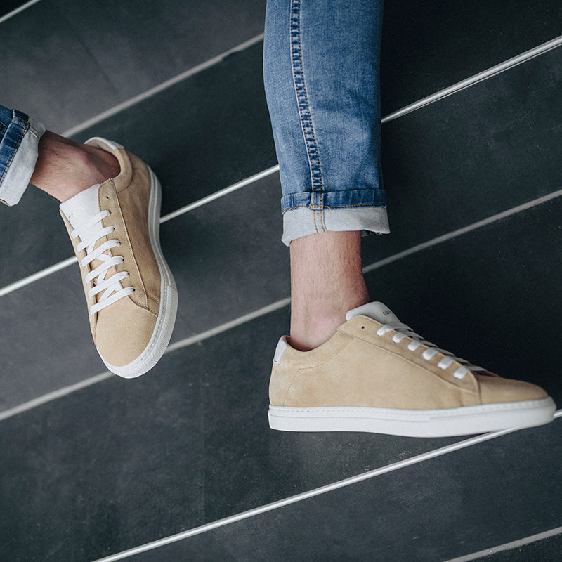 men sneaker in beige suede leather | camino71