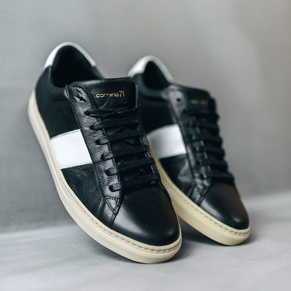 black and white men sneaker in leather | camino71