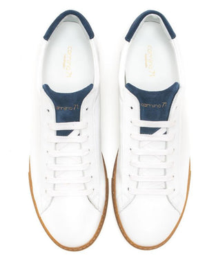 Elegant white leather sneaker handmade men | camino71