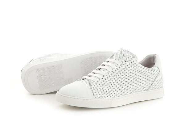 Sporty special leather sneaker all white for men | camino71