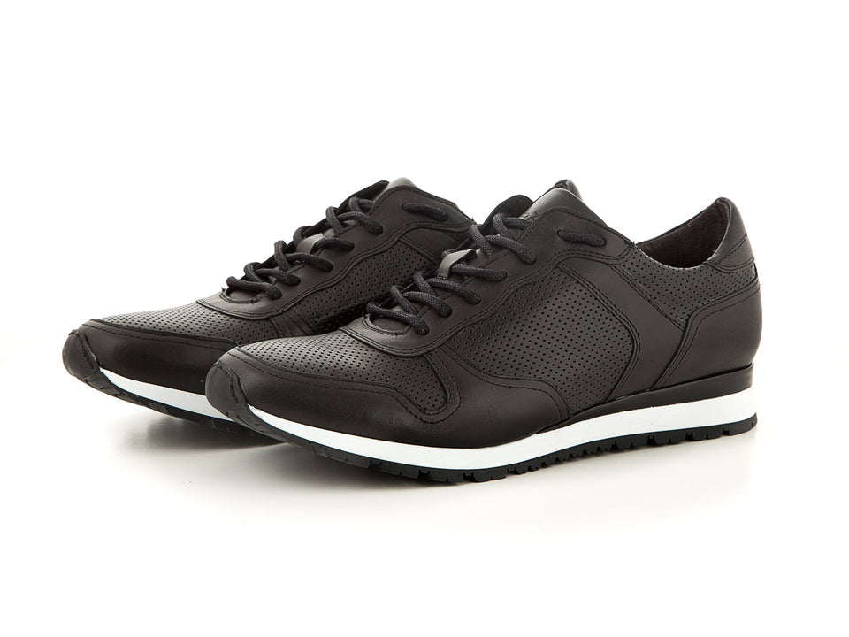 Sporty handmade business men's leather shoes black | camino71
