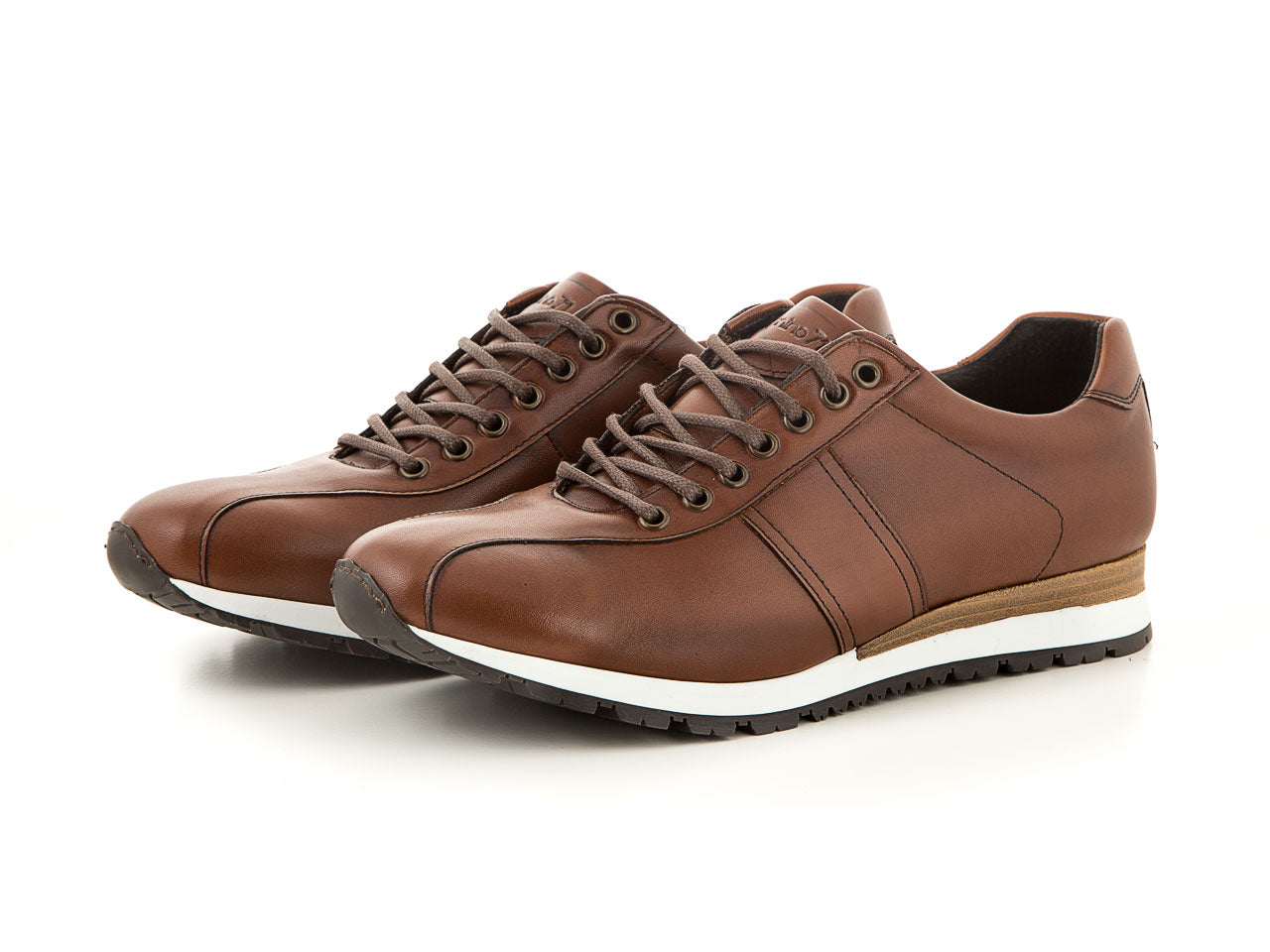 Handmade men's leather sneaker cognac business | camino71