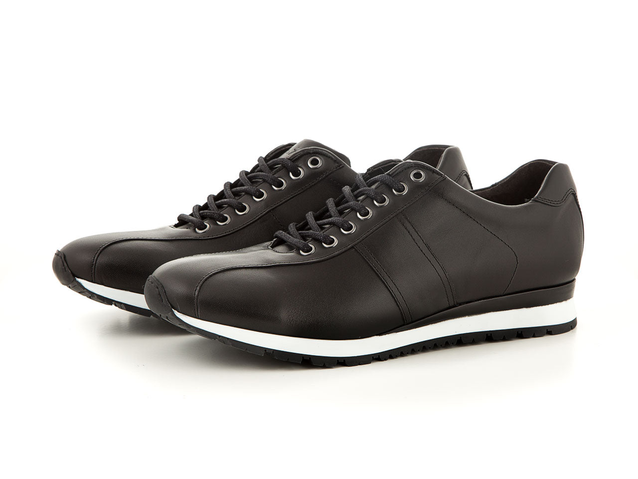 Elegant men's leather shoes all black business | camino71