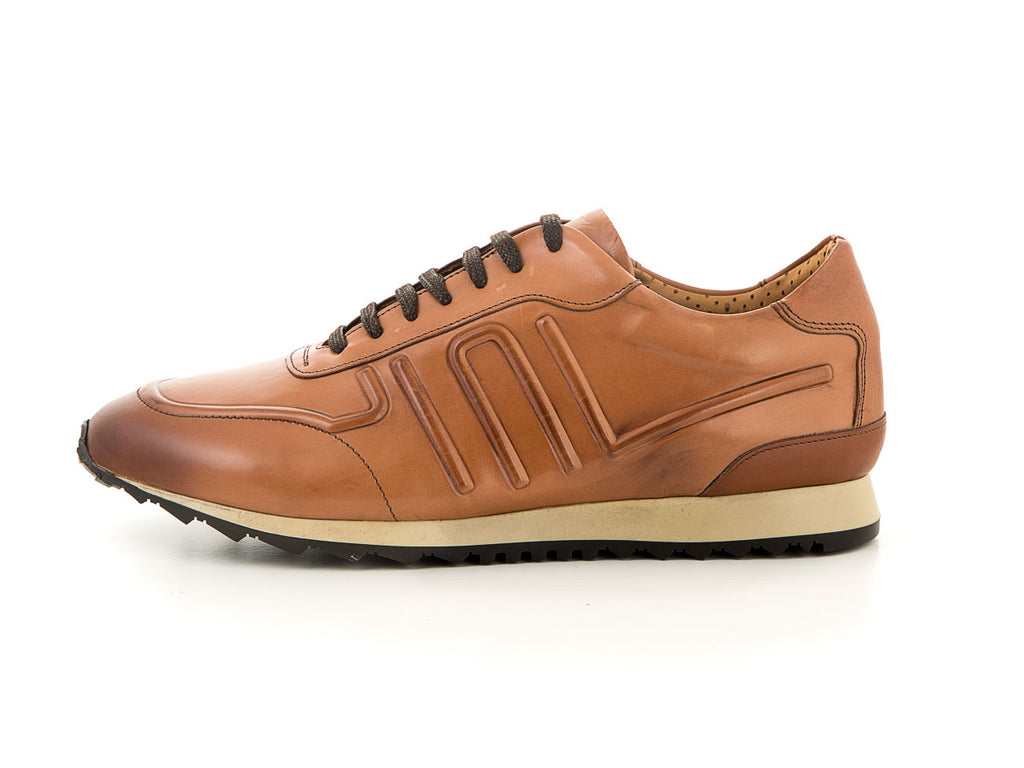 High-quality men's sneaker light brown soft leather | camino71