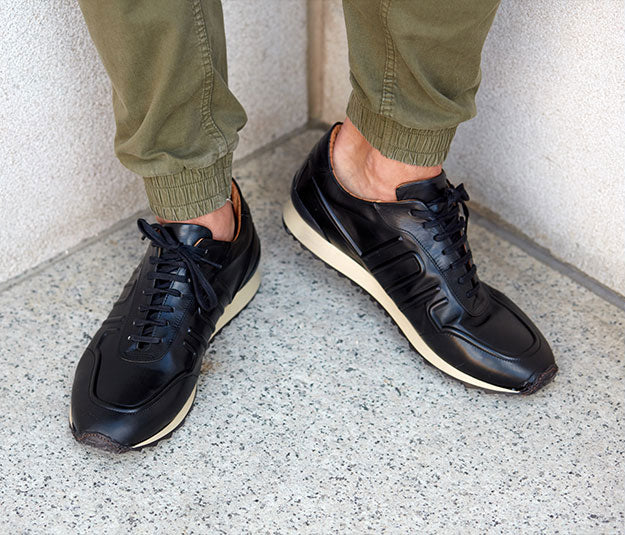 Elegant leather business shoes all black men | camino71
