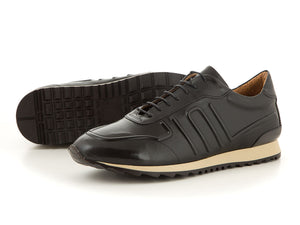 Elegant leather business sneaker made for men black | camino71