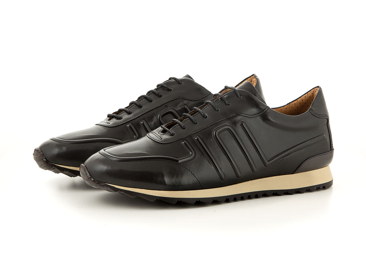 Elegant leather business sneaker all black men | camino71