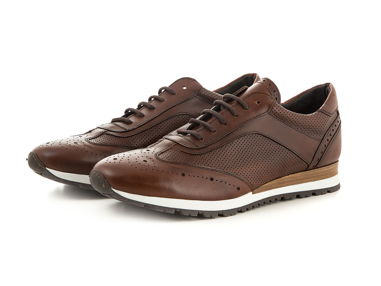 Handmade business men's sneaker soft leather brown | camino71