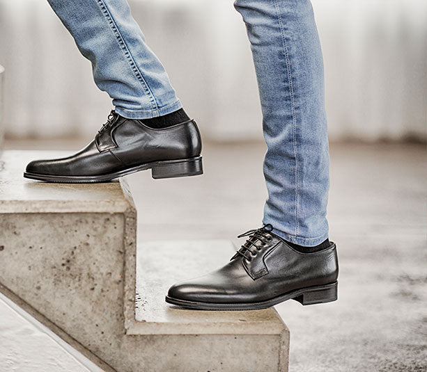 Classic elegant leather shoes all black business | camino71