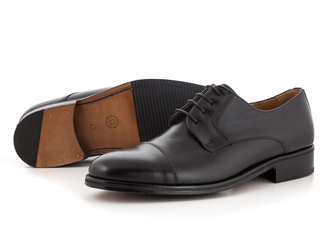 Handmade leather business shoes all black suit | camino71