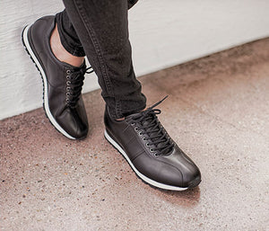 Sporty men's leather shoes all black business | camino71