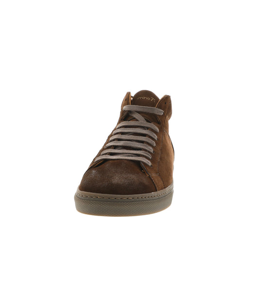 High brown leather sneaker men | camino71