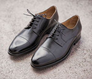 Handmade elegant leather business shoes all black | camino71