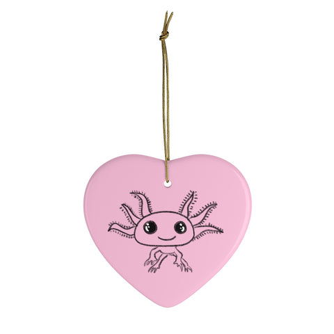 Axolotl Heart Ceramic Ornament
