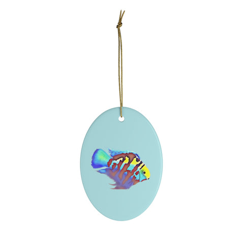 Polar Blue Parrot Cichlid Ceramic Ornament