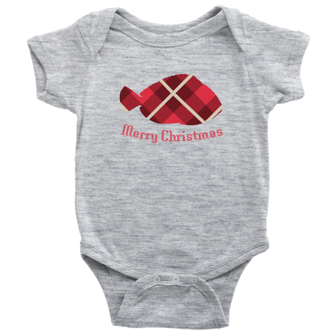 Red Retro Plaid Saltwater Tang Merry Christmas Bodysuit