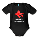 Merry Fishmas Organic Short Sleeve Baby Bodysuit - black
