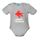 Merry Fishmas Organic Short Sleeve Baby Bodysuit - heather gray