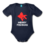 Merry Fishmas Organic Short Sleeve Baby Bodysuit - dark navy