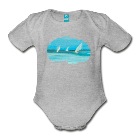 Distant Sailboats in Oils Organic Bodysuit - heather gray
