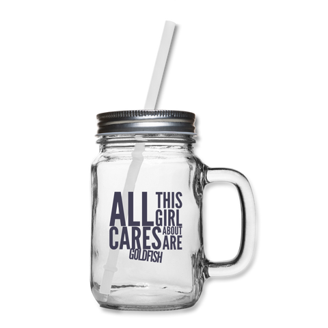 Cares About Goldfish Mason Jar - clear