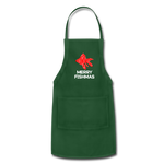 Merry Fishmas Ryukin Goldfish with Red Cross Stitch Green Apron - forest green