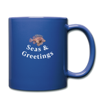 Seas and Greetings Holiday Lionfish Mug - royal blue