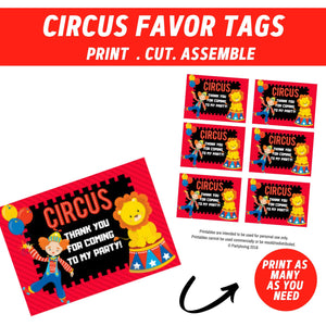 Circus Party Favor Tags
